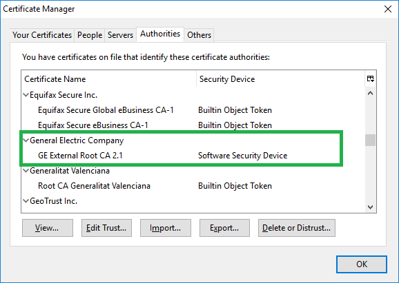 Manual installation SOP of GE Root Certificates on a server